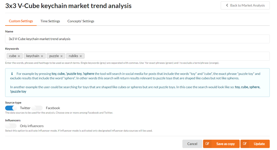 Market Trend analysis custom settings