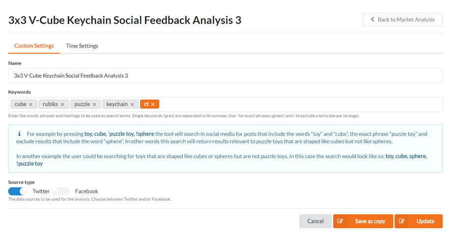 Social Feedback analysis custom settings