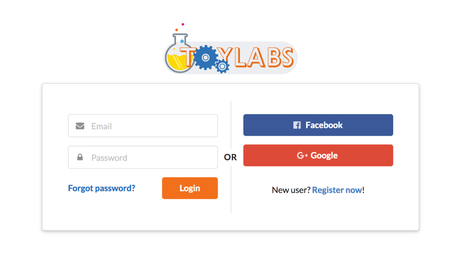 Login page (both using username/password and social login). Facebook/Google login generates an account, if the user doesn't have one.